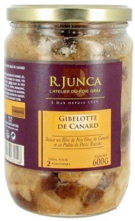 Gibelotte de canard Sauce au Bloc de Foie Gras de Canard et sa Poêlée de Petits Raisins