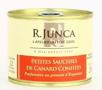 Petites saucisses de canard confites parfumées au piment d'Espelette